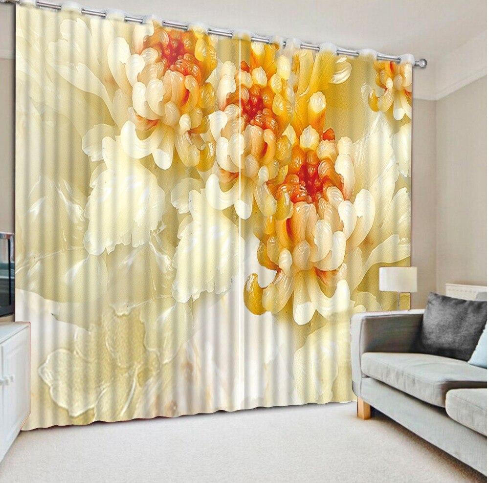 3D Curtain Printed Curtain Jade Carving Flower Bathroom Shower Curtain Custom Any Size Curtains Blackout Shade Window