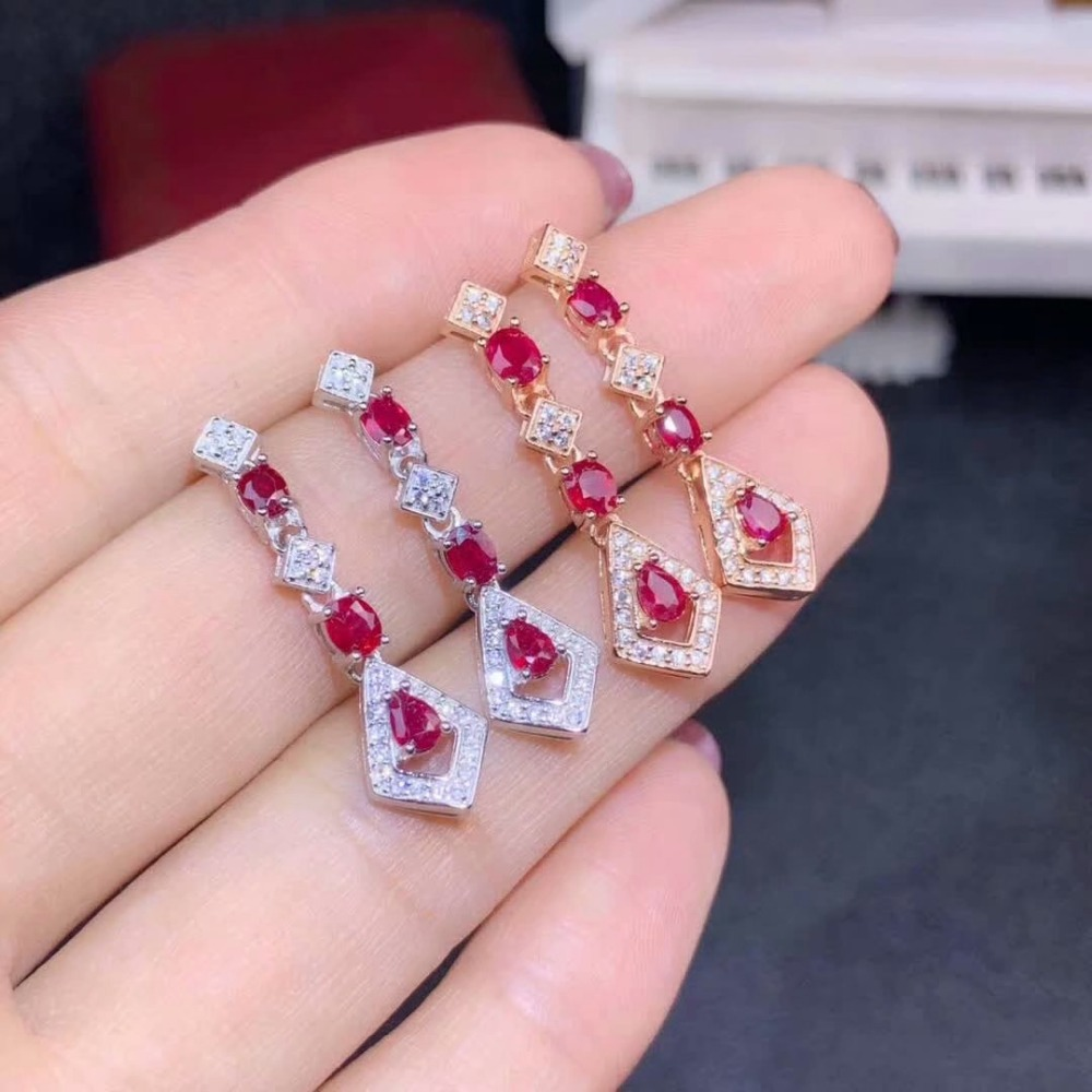 shilovem 925 natural Natural Ruby Stud Earrings fine Jewelry Customizable trendy  women party 3*4 de0304180aghshilovem 925 natural Natural Ruby Stud Earrings fine Jewelry Customizable trendy  women party 3*4 de0304180agh