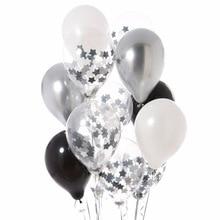 цена на 12pcs 12Star Metallic Black silver Confetti Balloons Black White Ballon for New Year Baby Birthday Wedding Party Decoration