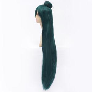 Image 4 - 100cm Long Dark Green Sailor Moon Sailor Pluto Meiou Setsuna Cosplay Wig With Detachable Bun Synthetic Hair Wigs + Wig Cap