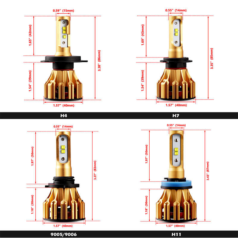 Oslamp T6 Series H4 Led Headlight for Car 6500K SMD Chips 9005/HB3 9006/HB4 Led H7 Car Bulbs 70W All-in-one H11 Led  Lamps 2x