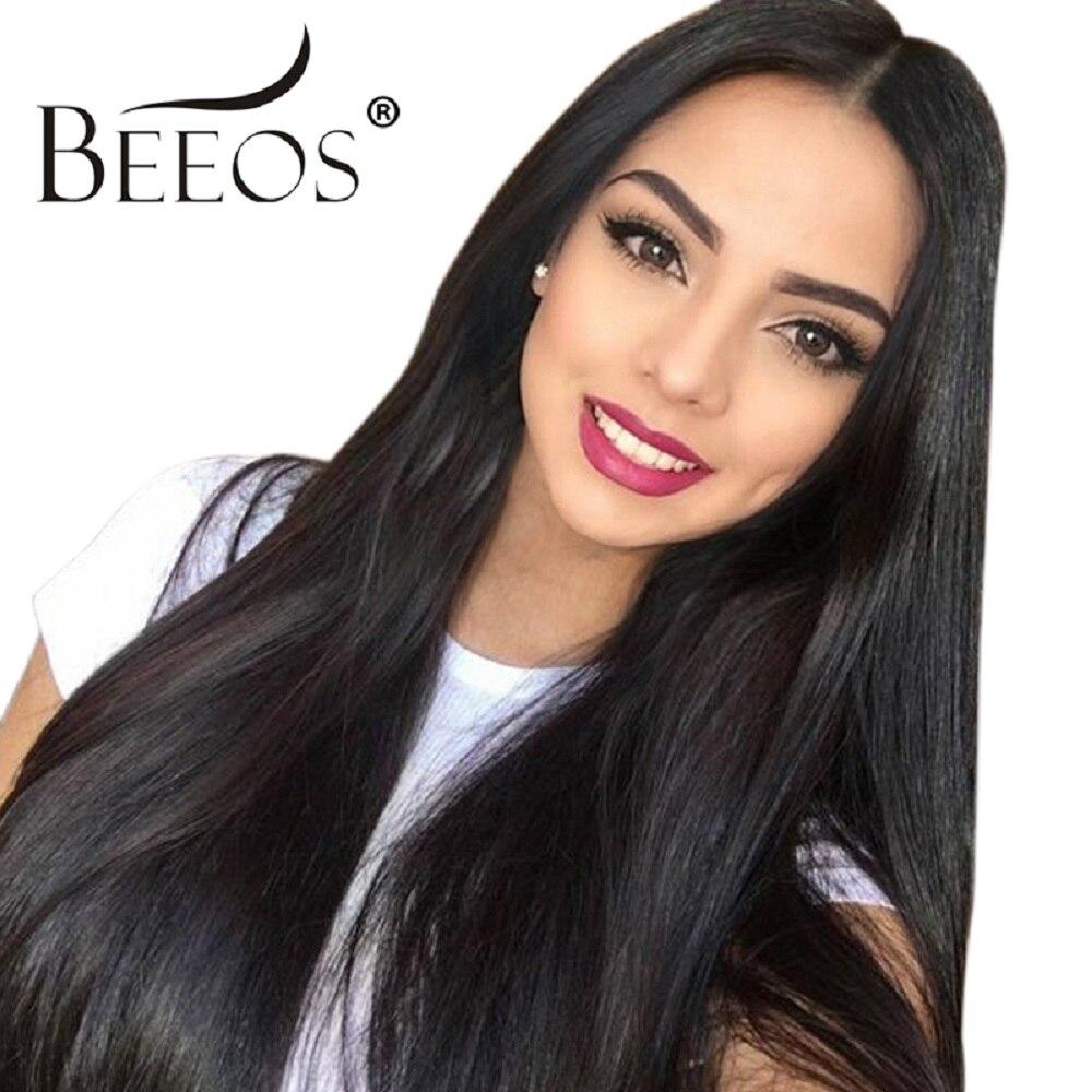 Beeos Droite Avant de Lacet Perruques de Cheveux Humains Moyen Partie Brésilienne Remy Cheveux Naturel Noir Perruques Pré Pincées Dégarni Blanchi Noeuds