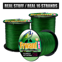 Frwanf 16 Strands Braided Fishing Line 500m Hollowcore Multifilament Line Braided Wire for Sea Fishing 20 500LB Moss Green