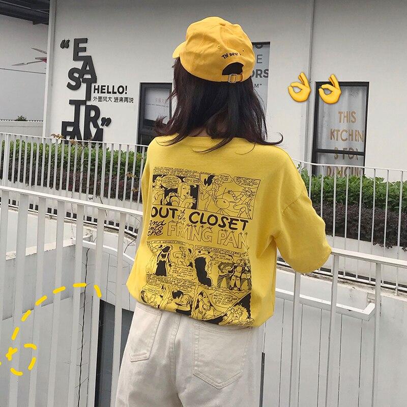 Summer Back Chic Cartoon Printed Women T Shirt Short Sleeve Mid-Long Loose Women Tops Harajuku Fashion T-shirt Pure Cotton Price $12.88