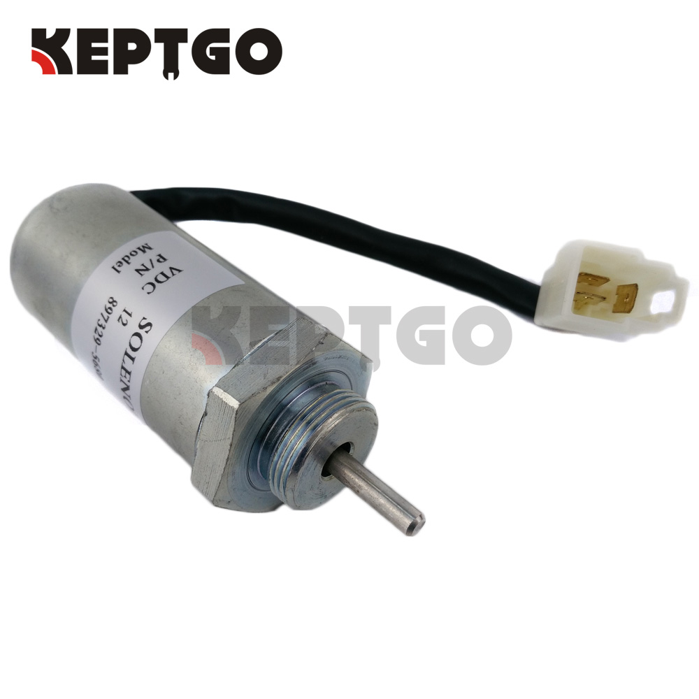 Fuel Stop Solenoid 12V MV1-70 897183-0140 for Hitachi Excavator EX50U Isuzu 4LE2 new water pump for hitachi excavator ex120 2 for isuzu engine 4bd1