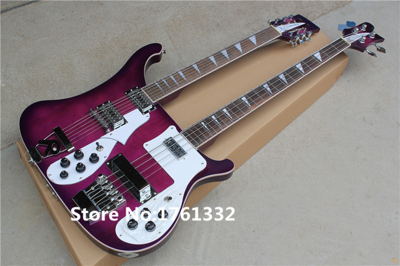 Popular double neck purple body 12 strings electric ...