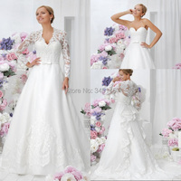 Detachable Jacket A Line V neck Long Sleeve Women Wedding Dress White Organza Lace Most Modest Plus Size Bridal Gowns