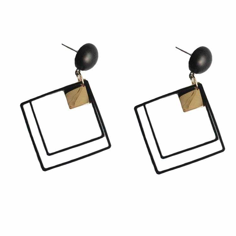 New Minimalist Style Cool Black Alloy Square Metal Plate Dangle Earrings Women's Jewelry Orecchini Statement Earrings