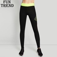 Women Yoga Pants Fitness Sports Trousers Gym Running Leggings Elastic Waist Slim Smooth Personality Letters Pattern Sport Tights