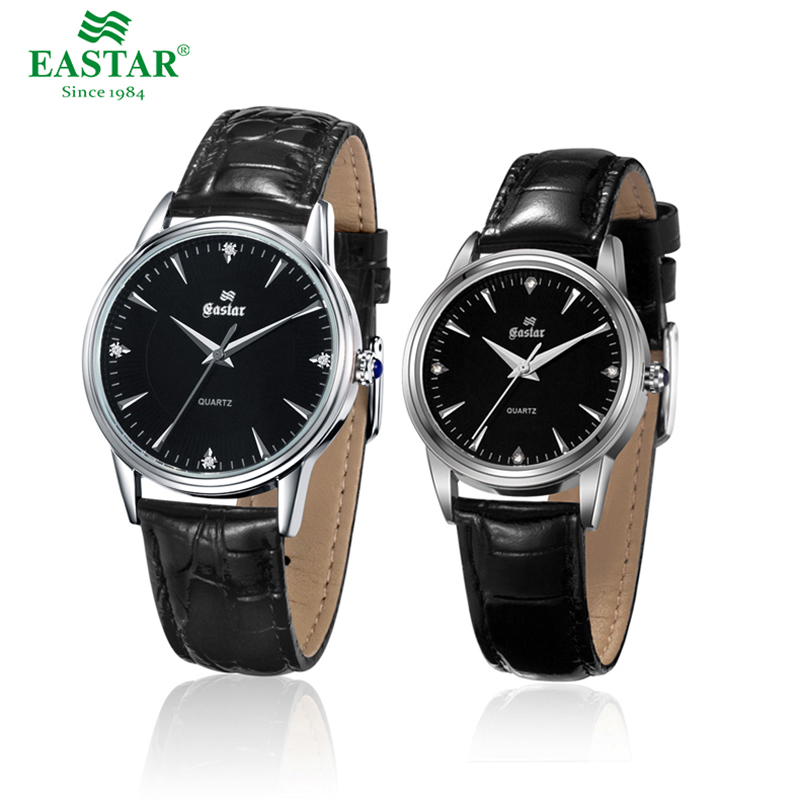 Eastar Couple Wristwatches Leather Strap Watches Lovers Girls Fashion Quartz Band Luxury Brand 39mm Dial And 30mm Dial
