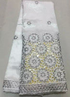 New Fashion White Raw Silk African Embroidery George Lace Fabric With Sequins For Wedding Dress OG26