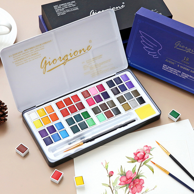 48 Colors Solid Watercolor Paint Set Metal Box Water Color Painting Pigment Pocket Size With Metal Ring For Artists Art Supplies