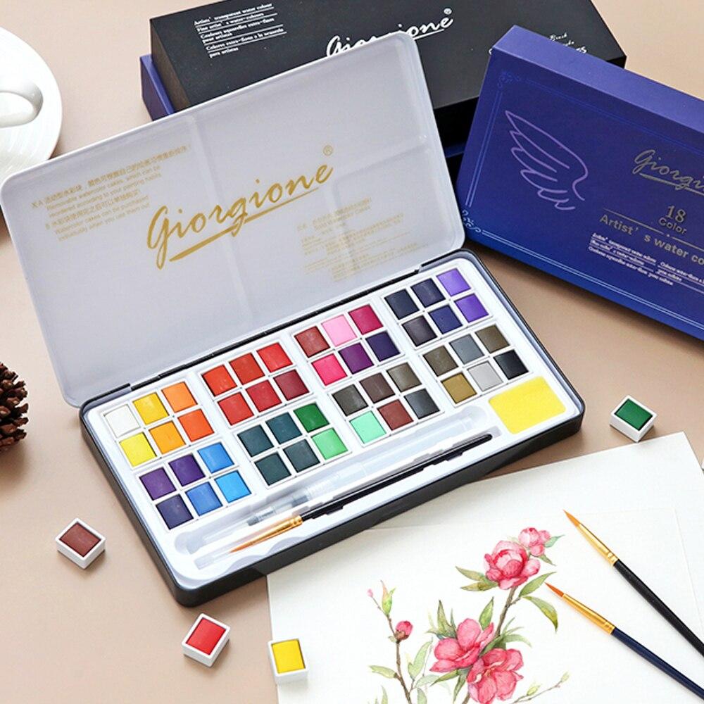 48 couleurs solide aquarelle ensemble de peinture boîte en métal couleur de l'eau peinture Pigment poche taille avec anneau en métal pour les artistes Art fournitures