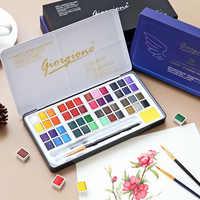 Juego de 48 colores de pintura de acuarela sólida caja de Metal pintura de Color agua pigmento tamaño de bolsillo con anillo de Metal para artistas arte suministros