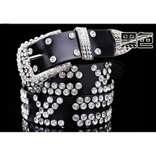 Fashion Rhinestone Womens Studded Belts High Quality Leather Rock Women Strap Hip Hop Belt