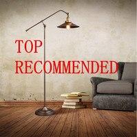 Campo americano do vintage loft estilo personalidade longo braço lâmpada de assoalho sala estudo foyer cabeceira piso luz