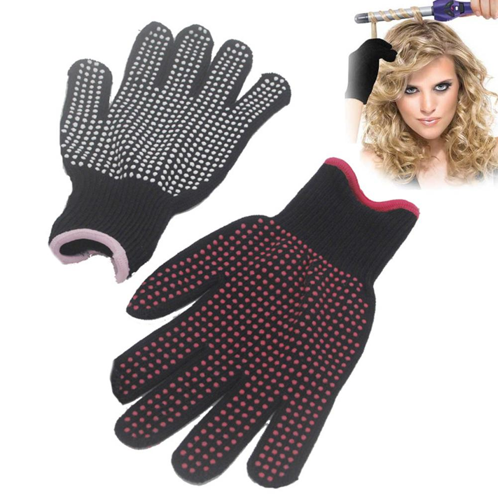 1pair Hair Straightener Curling Tong Hairdressing Heat Resistant Finger Gloves Skid Burn-proof Resistance White Red High Quality