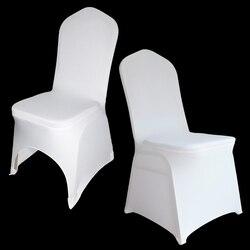 housse de chaise mariage 50 / 100 pièces blanc Stretch Spandex housse de chaise pour les mariages universel Polyester Banquet Restaurant