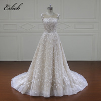 Eslieb Robe De Mariee Cap Sleeve A Line Vintage Wedding Dresses 2018 Appliques Beaded Court Train