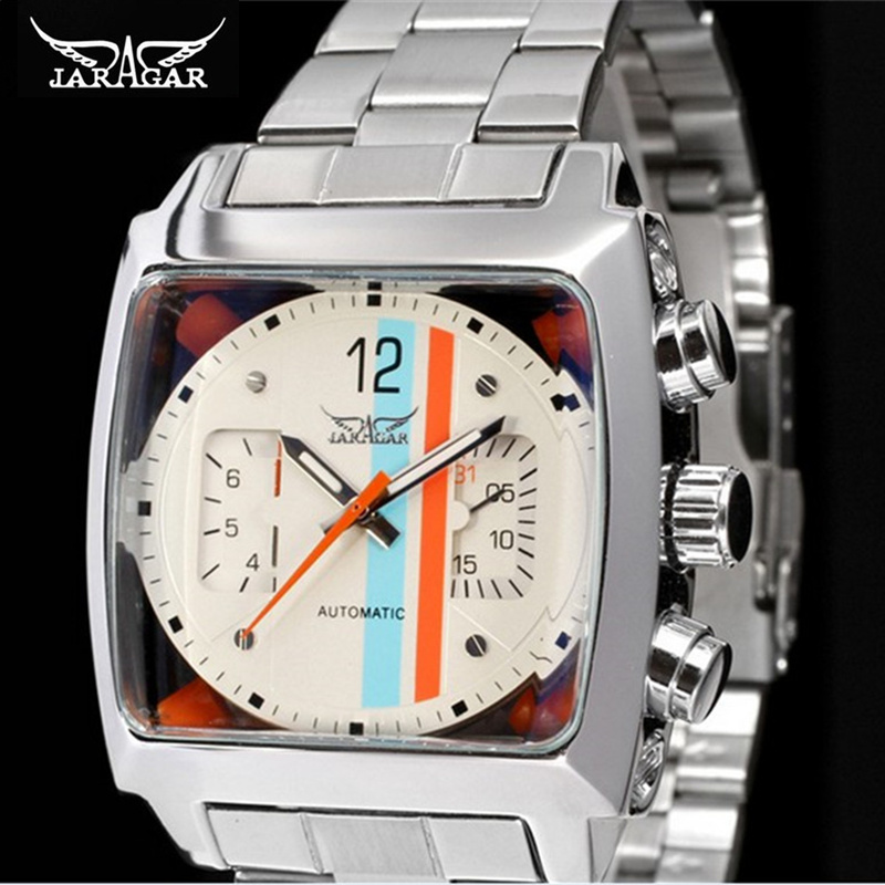 Fashion Casual JARAGAR Watches Mens Square Case Date Week Dial Display Stainless Steel Design Male Sport