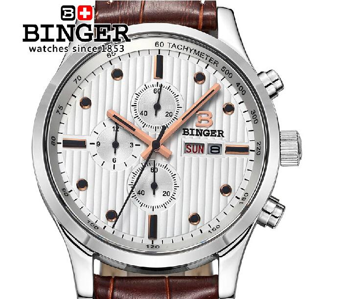 Switzerland men's watch luxury brand Wristwatches BINGER Quartz men watches leather strap steel waterproof 100M clock BG-0402-3