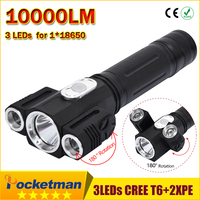 LED Flashlight 10000LM 180 Degree Rotating CREE T6 2 XPE Camp Hunting Torch Flashlight Tail With