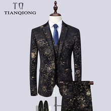 2019 Wedding Suits Men Brand Design Black Gold Floral Tuxedo Men Slim Fit Mens Dress Suits Stage Costumes (Blazers+pants+vest)(China)