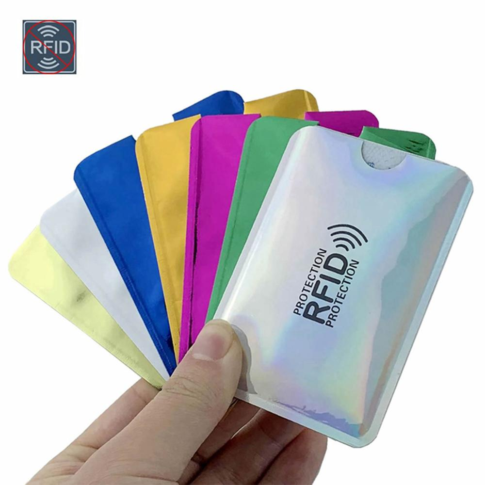 2Pcs Anti Rfid Reader Lock Wallet Locking Credit Id Cards Holder Bank Protective Aluminum Metal Card Case Support NFC 6.2*9.2cm
