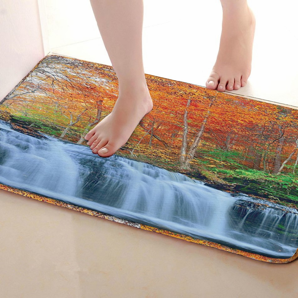 Waterfall Style Bathroom Mat,Funny Anti skid Bath Mat,Shower Curtains Accessories,Matching Your Shower Curtain