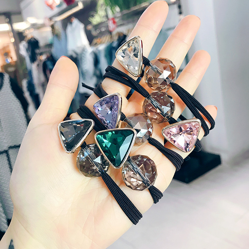 Korea Colorful Geometric Crystal Ball Elastic Hair Bands Rubber Band Hair Accessories For Girls Hair Ties Gum for Hair|Women's Hair Accessories| - AliExpress