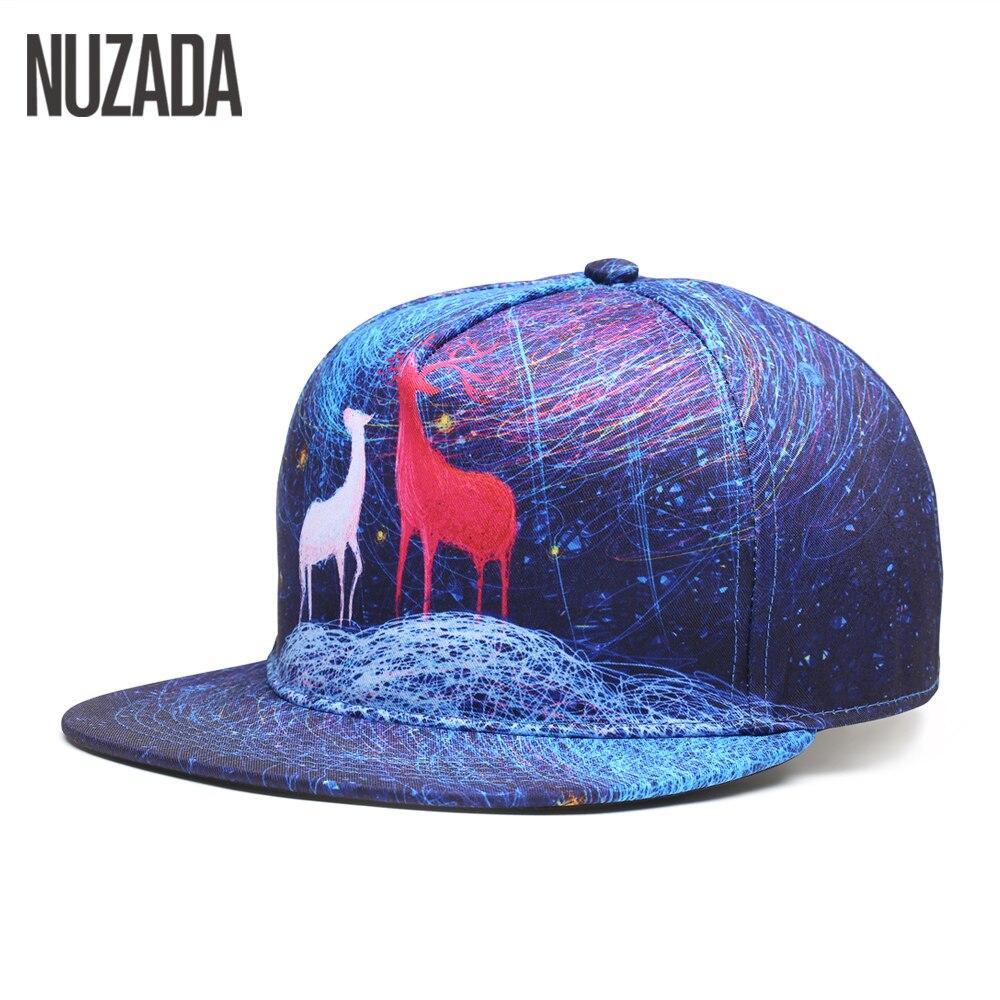 Prix pour Marque NUZADA Snapback Exclusive Ventes Qualité Femmes Hommes Casquettes de Baseball 5 Colos Impression Hip Hop Chapeaux Os De Mode Motif Cap