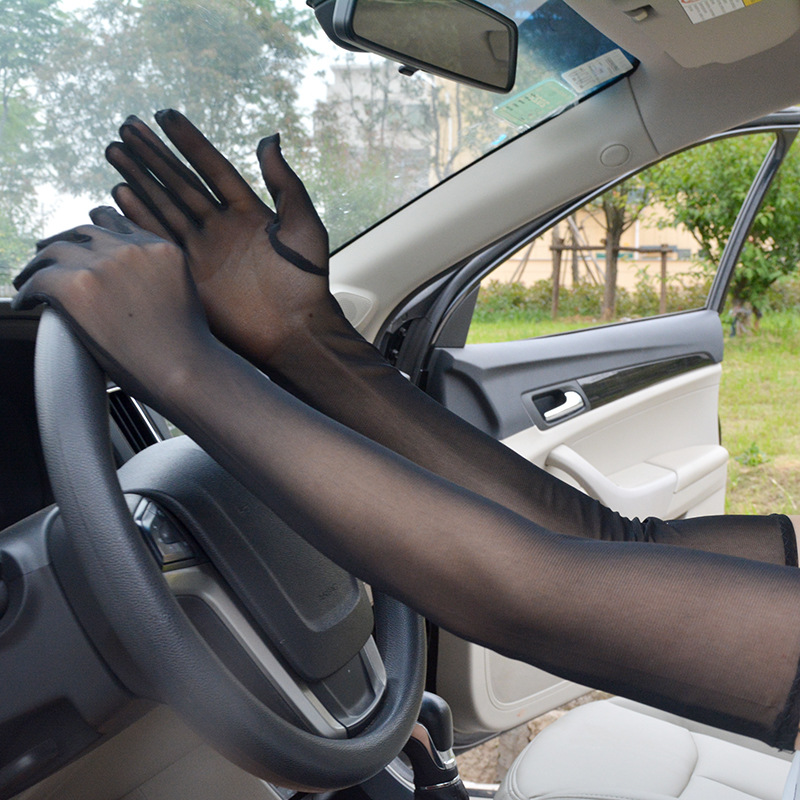 Sexy Lace Sunscreen Gloves for Women Summer Spring Long Solid Black Transparent High Elastic Anti-UV Driving Glove