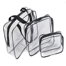 2017 3pcs/set Travel Essential Transparent Waterproof Toiletry Wash Bathing Supplies Storage Bag Makeup Cosmetic Bags PVC Pouch