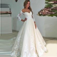 Lace A Line 3/4 Sleeves Sweep Train Tulle Applique Wedding Dresses with Appliques 2019 Corset Back Vestido De Noiva F36