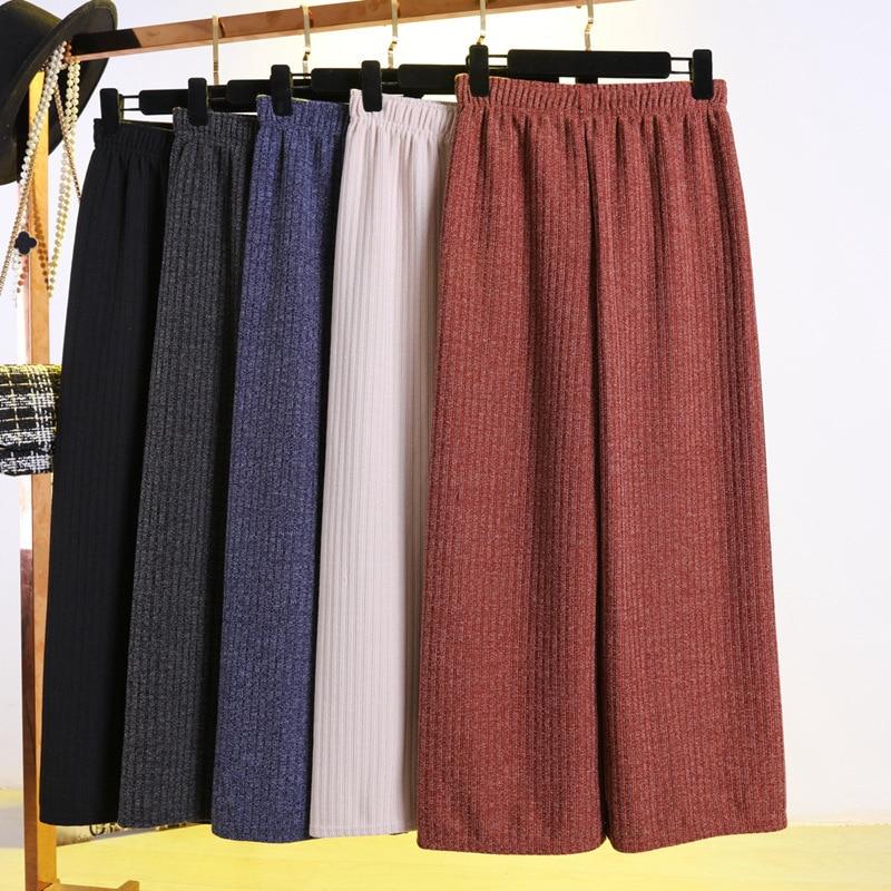 PANTS WOMEN LONG PANT GIRL drape female loose big yards fall winter leisure knitting wide-legged pants straight nine points