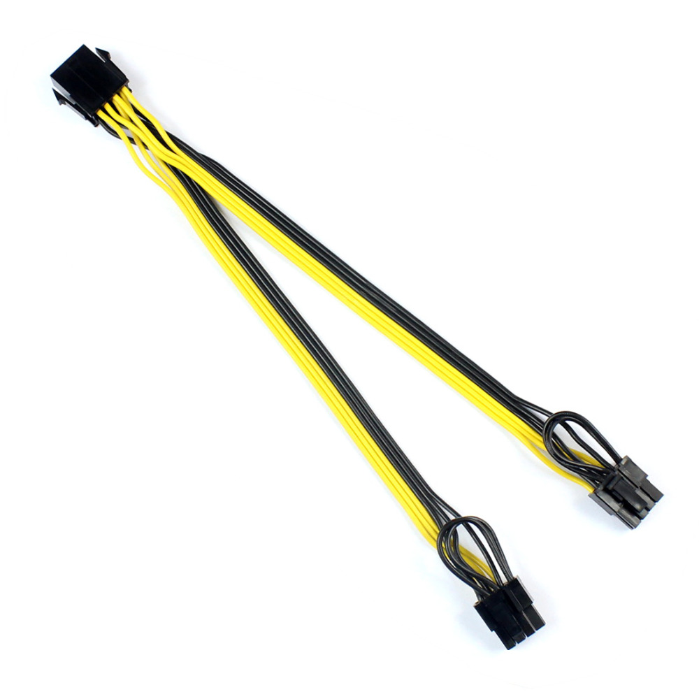 CPU 6Pin to Graphics Video Card Double PCI-E PCIe Power Supply Splitter Cable