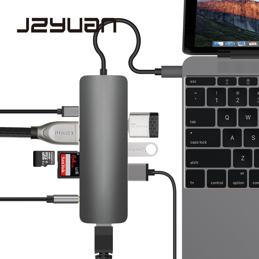 JZYuan 9 in 1 USB-C 3.1 HUB to Type C PD HDMI 3.5mm Audio RJ45 Ethernet LAN Adapter SD/TF Card Reader USB C HUB For Macbook 7 in 1 usb c type c hub to hdmi sd tf card reader usb 3 0 rj45 pd charging adapter for macbook samsung galaxy usb c hub