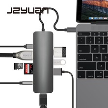 JZYuan 9 in 1 USB-C 3.1 HUB to Type C PD HDMI 3.5mm Audio RJ45 Ethernet LAN Adapter  SD/TF Card Reader USB C HUB For Macbook amkle 9 in 1 usb c type c hub 3 0 usb c to hdmi 4k sd tf card reader pd charging gigabit ethernet adapter for macbook pro hub