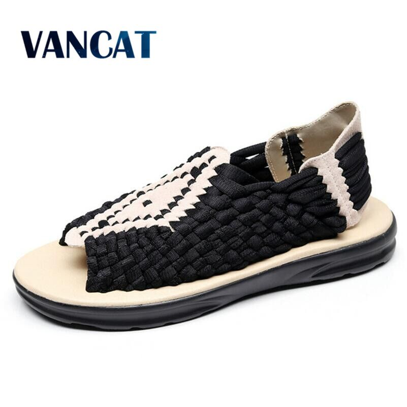 VANCAT Men Sandals Summer Slippers New Breathable Handmade Shoes Beach Casual Flats Famous Brand Designer Zapatos Hombre