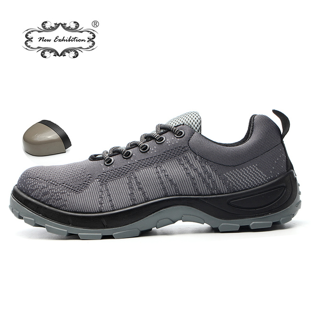 Yeni sergi Nefes Örgü Açık erkek Çelik Burun Iş Güvenliği ayakkabı enjeksiyon kalıplı katı PU taban Delinme Güvenlik Botları 46