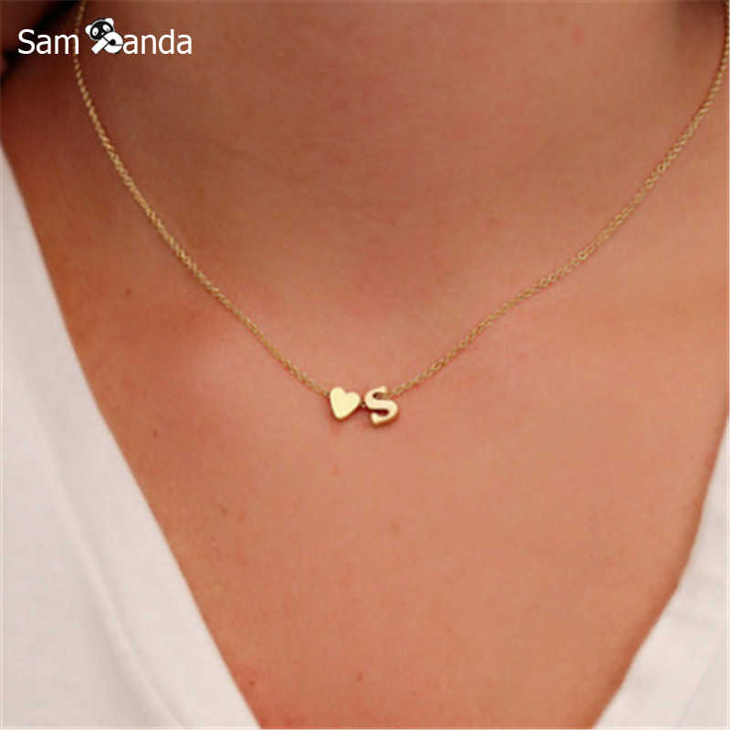 Letter Heart Name Trendy Tiny Dainty 2019 Necklace for Women Initial Chain Pendant Statement Gold Necklaces Choker Dorp Jewelry