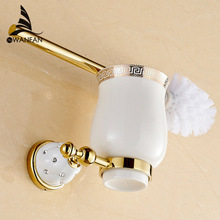 Toilet brush holders Gold Plated Wall mounted Toilet Brush Holder With Ceramic Cup Household Products Bath Hardware sets 5209
