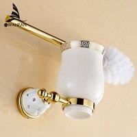 Toilet cọ holders Mạ Vàng treo Tường Nhà Vệ Sinh Cọ Chủ Với Gốm Cup Sản Phẩm Gia Dụng Bath Phần Cứng thiết 5209