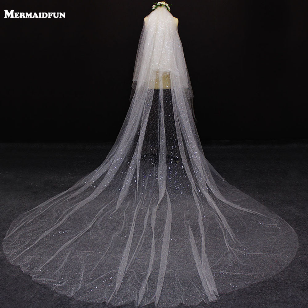 Luxury Bling Sequins Tulle Cut Edge 2 Layer Wedding Veil 2 T Cover Face With Blusher 4 M Long Bridal Veil Wedding Accessories