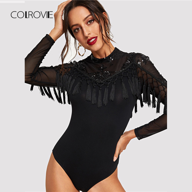 d24ff3e844dc COLROVIE Black Fringe Mesh Sheer Elegant Sequin Bodysuit Women 2018 Autumn  Long Sleeve Skinny Vintage Party