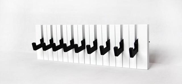 040360 Decor Hook Fashion Wooden Hangers Piano Coat Rack Decorative Wall Creativity Keys Black