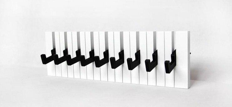 040360 décor crochet mode cintres en bois Piano porte-manteau décoratif mur créativité clés noir