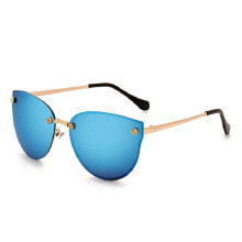 Fashion Rimless Cat Eye Sunglasses Women Rose gold Style Retro Mirror Women Reflective Rose Gold Sun Glasses Metal Frame Mirror