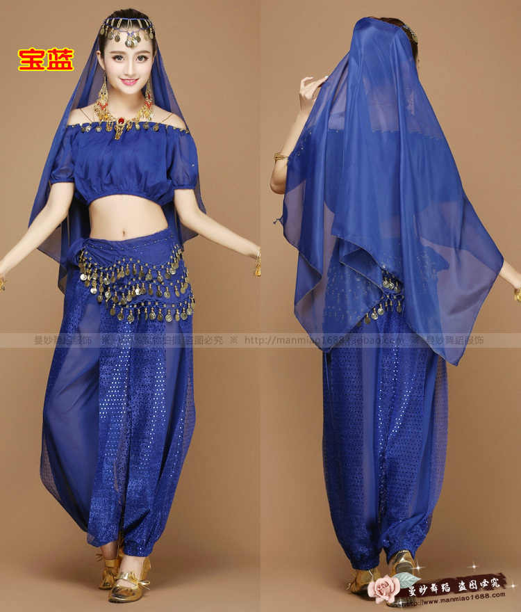 9b4f4e3b82 ... New Sexy Women Adult Arabic Indian Egyptian Cheap Belly Dance Costumes  Set 4 Pieces Crop Top ...