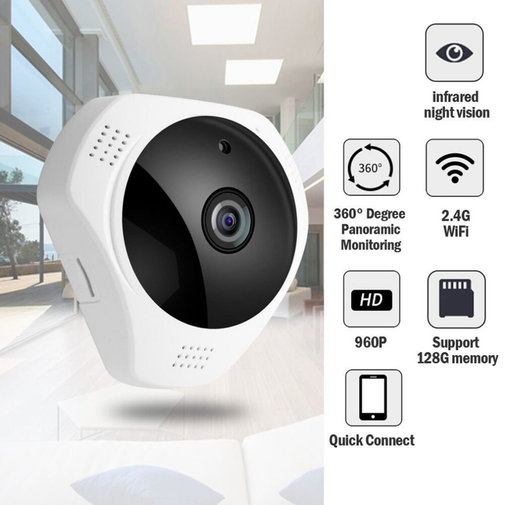 Panoramic Wireless IP Camera Motion Detection 360 Degree Night Vision Indoor Outdoor Security System for Baby Pet Elder VideoPanoramic Wireless IP Camera Motion Detection 360 Degree Night Vision Indoor Outdoor Security System for Baby Pet Elder Video